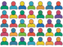 line drawing images of the had and shoulders of people in different colours