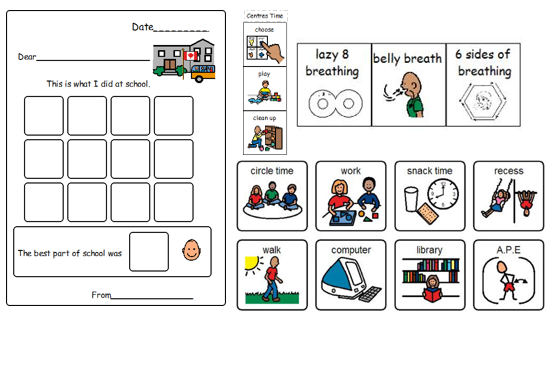 Visual supports home school letter, calm down routine, schedule pictures Boardmaker symbols