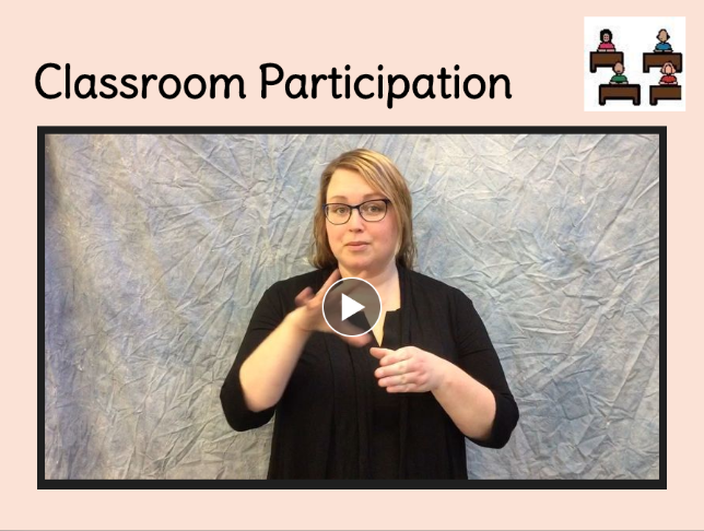 classroom participation, sign book, link to book creator book on Classroom Participation sign language book