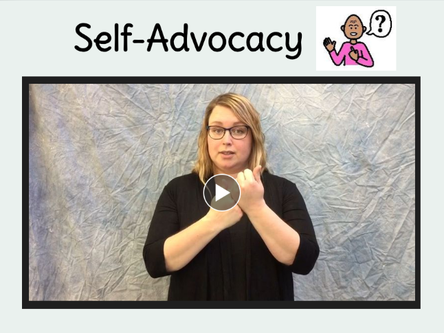 self advocacy, sign book, link to book creator book on self advocacy sign language book