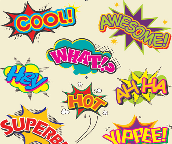word clouds with comic elements, speech to text, link to speech to text resources
