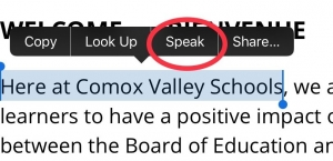 text with iOS tool bar up with speak selection circled