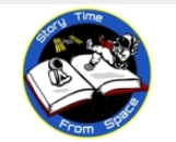 Logo of Stroy time form space picture of an open book and an astronaut reading