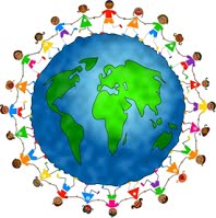 picture of the earth with children surrounding it holding hands