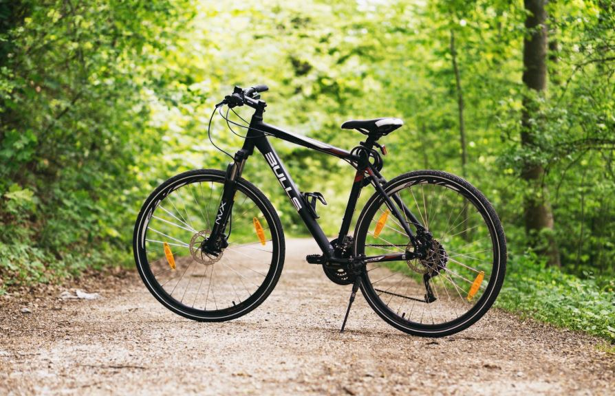 Black bike standing in middle of path.
