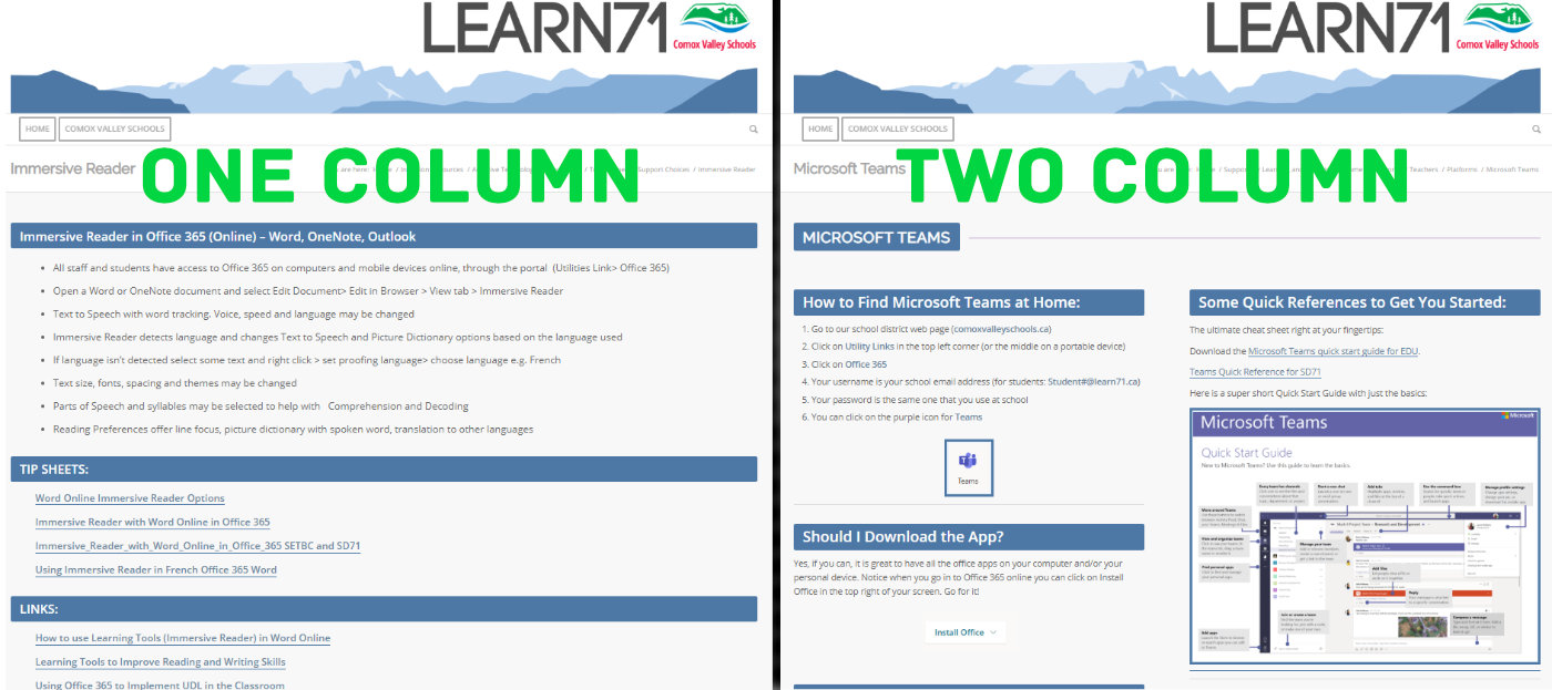 One / Two Column Examples