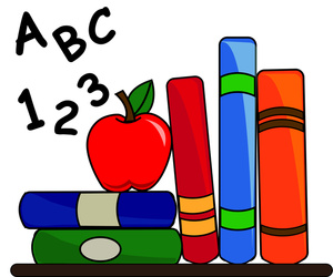 cartoon picture of books, apple. letters, numbers