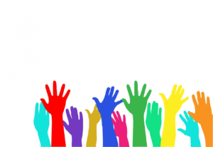 multi coloured hands reaching up