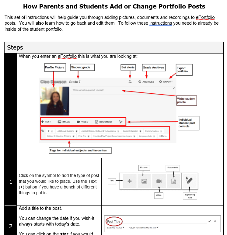 How Parents and Students Add or Change Portfolio Posts