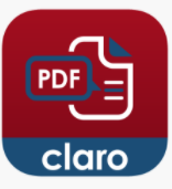 Claro pdf pro app logo red square with a PDF paper icon and the works PDF and Claro written on the bottom