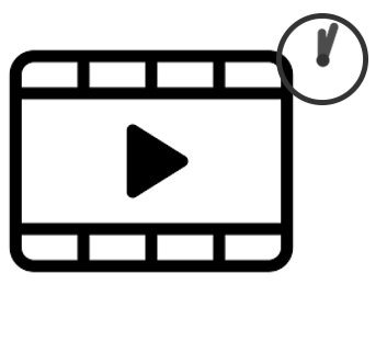 video icon and clock with one minute