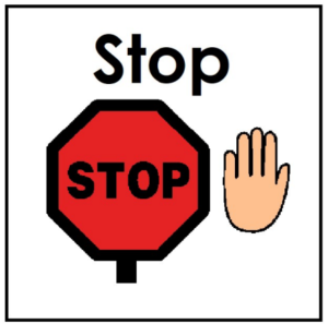 stop sign with palm up