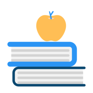 two books stacked with apple on top