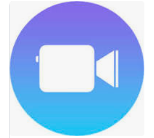 Clips app icon blue background with video camera icon