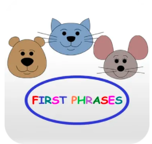 Frist Phrases app icon bear, mouse cat picture with the word First Phrases