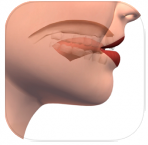 Speech Tutor Pro App icon side view of a face with inside of mouth visable
