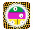stick and split app icon circle with coloured fraction bars