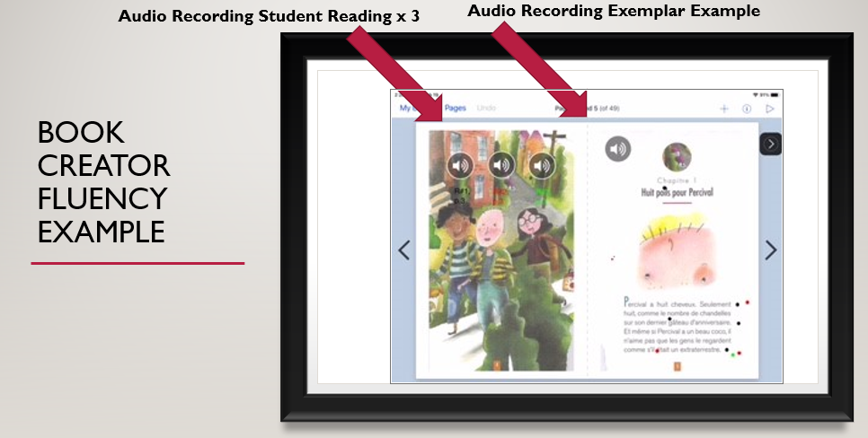 book creator app a page of text with sound icons 1 as a model reading example and another with student audio recordings