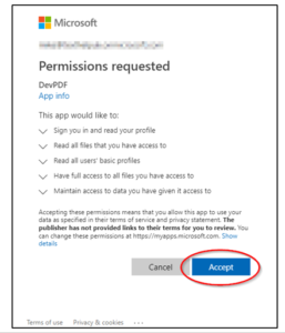 Permissions listed with the button to accept