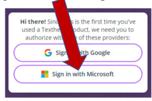 buttons that say sign in with Google Chrome or Sign in with Microsoft